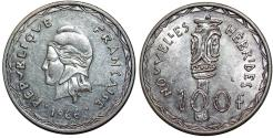 World Coins - New Hebrides. Anglo-French Administration. Silver 100 Francs 1966 . Choice UNC.