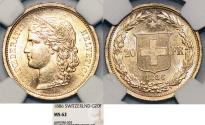 World Coins - Swiss. Federation. Gold 20 Francs Helvetia 1886. NGC MS62