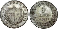 World Coins - Swiss Cantons: Aargau. AR 5 Batzen 1811.  aXF, scarce