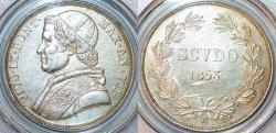 World Coins - Italy. Papal State. Rome. Pius IX (1846-1878) AR Scudo 1853R (An VIII). PCGS AU55, lusterous.