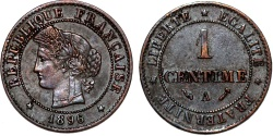 World Coins - France. II Republic. AE 1 Centime 1896. Choice XF
