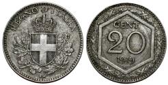 World Coins - Italy. Vittorio Emanuele III. CU-NI 20 Centesimi 1919R. Choice XF