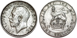 World Coins - Great Britain. George V. AR Shilling 1918. AU