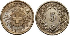 World Coins - Switzerland. Federation Issue. Bi 5 Rappen 1873. Choice XF