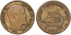 World Coins - Danish West Indies. Virgin Islands. Frederick VII (18348-1863). Silver 5 Cents 1859, Fine+
