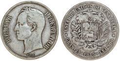World Coins - Venezuela. Republic. (AR 25 Grams) 5 Bolivars 1935. VF+