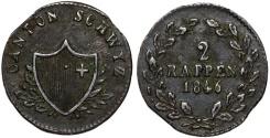World Coins - Swiss Cantons. Schwyz. Cu 2 Rappens 1846. Choice VF