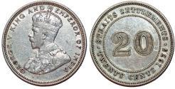 World Coins - Straits Settlements. George V. AR 20 Cents 1935. AU