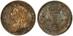 Ancient Coins - Great Britain. Empress Victoria. Silver 1 Pence 1893. Toned AU