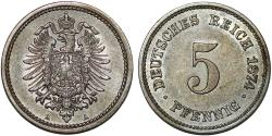 World Coins - Germany. Imperial Issue. Wilhelm I. CuNi 5 Pfennig 1874A. Key-date. AU