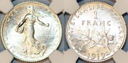 World Coins - France. Republic. Silver 1 Franc 1919A. NGC MS64