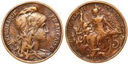 World Coins - France. Republic. AE 5 Centimes 1916. VF