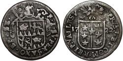 World Coins - Swiss Cantons. Sitten 1/2 Batzen 1710. About VF, RARE