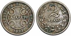 World Coins - Colombia. Lazareto (Leproseria). Leper Colony. CuNi 2 Centavos 1921. VF