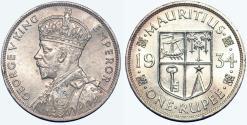 World Coins - British Colony: Mauritius. King George V. AR 1Rupee 1934. Choice AU.