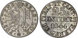 World Coins - Switzerland. Geneva. Nice 25 Centimes 1844. XF