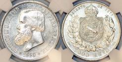 World Coins - Brazil. Pedro II (1831-1889). AR 2000 Reis 1889. NGC UNC details, cleaned