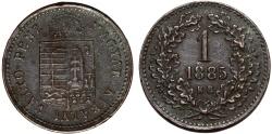 World Coins - Hungary. Franz Joseph I. CU 1 Krajczar 1885 KB. XF, patina