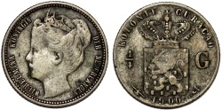 World Coins - Islands of Curacao under Netherlands Rule. Queen Wilhelmina. AR 1/4 Gulden 1900. aVF