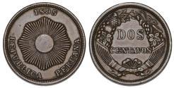 World Coins - Peru. CU 2 Centavos 1895W. VF+, Nice