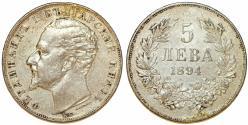 World Coins - Bulgaria. Ferdinand I (1887-1908). Silver 5 Leva 1894 KB. Toned Choice XF
