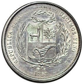 World Coins - Peru. Republic. AR 50 Centimos 1858 MB. VF, cleaned
