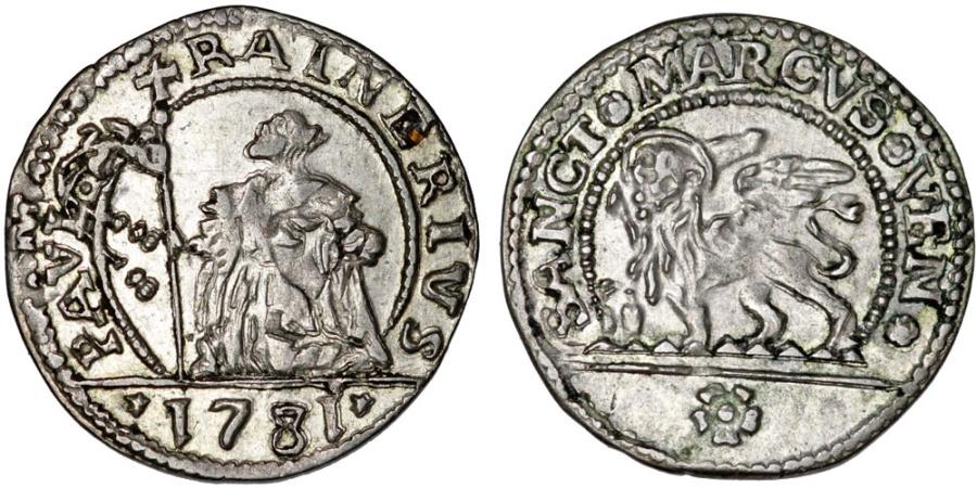 World Coins - Italian States. Venice. Doge Paolo Ranier (1779-1789). AR 10 Soldi 1781. AU.