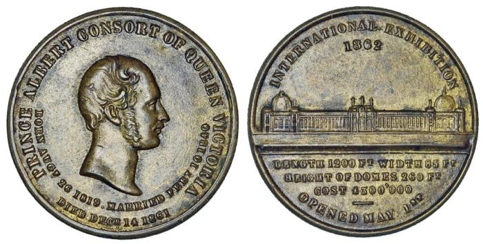 World Coins - Great Britain. Prince Albert. International Exhibition in London 1862. XF