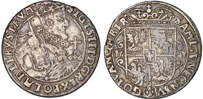 World Coins - Poland. Bromberg. Sigismund III Vasa (1587-1632). Silver 1/4 Thaler 1623. Nice VF