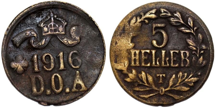 World Coins - German East Africa (Tanzania). Brass 5 Heller 1916. aVF