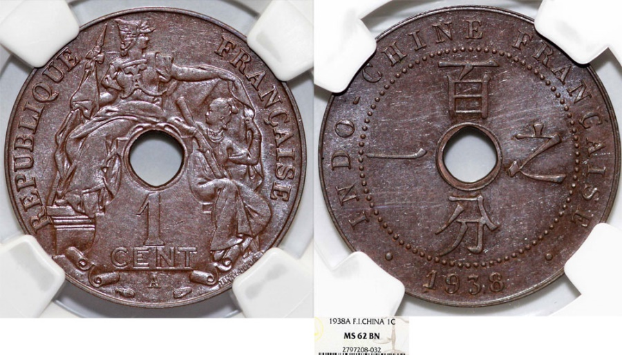 World Coins - French Indo-China. AE 1 Cent 1938. NGC MS62 BN