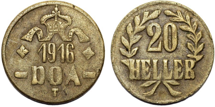 World Coins - German East Africa (Tanzania) . Brass 20 Heller 1916. VF+