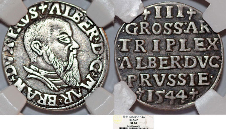 World Coins - Duchy of Prussia (Ex-Teutons State). Albrecht von Hohenzollern (1525-1568) Rare AR 3 Gross 1544. NGC XF40