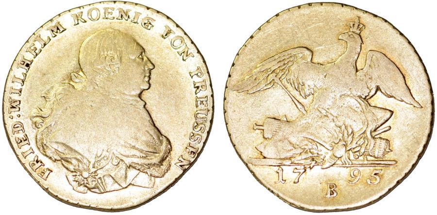 Germany  Brandenburg-Prussia  Breslau  Friedrich Wilhelm II  (1786-1797 )   AV Friedrich D'or 1795 B  Fine+, RARE COIN!