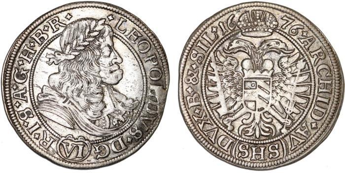 World Coins - Imperial Austria: Silesia. Leopold I (1657-1705) Silver 6 Kreuzer 1676 SHS. Choice XF