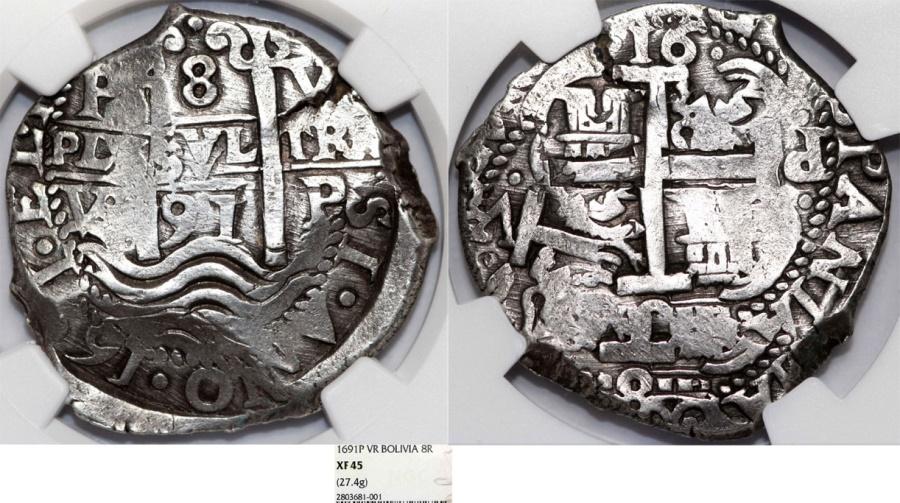 Spanish Colony Bolivia Potosi Charles II 1665 1700 Silver Cob 8