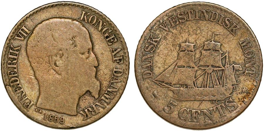 World Coins - Danish West Indies. Virgin Islands. Frederick VII (18348-1863). Silver 5 Cents 1859, Fine+
