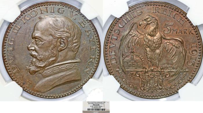World Coins - Germany. Bavaria. Ludwig III (1913-1918). PATTERN Copper 5 Mark 1913G. NGC MS63BN
