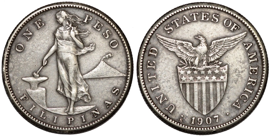 World Coins - Philippines. USA administration. AR Peso 1907 S. Choice XF