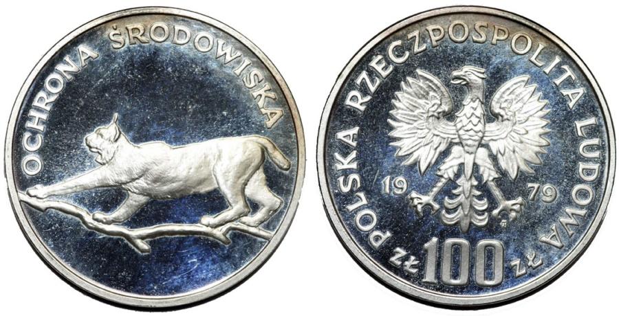 World Coins - Poland, P.R.L. 1952-1989, Silver 100 złotych 1979, Environmental / Lynx /. Proof
