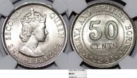 Malaya and British Borneo. CU-NI 50 Cents 1961. NGC MS65!