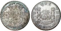 World Coins - MEXICO. Charles III (1759-88). Pillar Coinage. Silver 2-Reales, 1763-Mo MF. Choice VF, toned