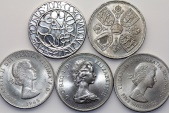 World Coins - Great Britain. Queen Elizabeth II. Lot of 5 Commemorative Crowns XIXc.