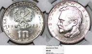 World Coins - Poland PRL. CuNi 10 Zloty 1975. Boleslaw Prus. NGC MS66!