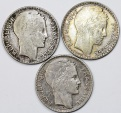 World Coins - France. III Republic. Lot of 3 Silver Coins: 10 Francs 1930-31. XF+