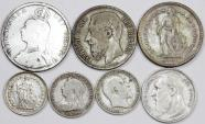 World Coins - Europe. Lot of 7 Silver coins. struck in  XIX-XXc, F to AU, cheap.