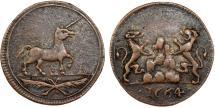 World Coins - Great Britain. Copper Jeton 1664. Unicorn. VF
