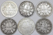World Coins - Germany: Lot of 6 Coins: Imperial Mark 1874 -1877. Fine-VF+