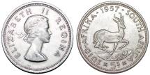 South Africa. Elizabeth II.  AR 5 Shillings 1957.  AU