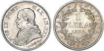 World Coins - Italy. Papal State. Rome. Pope Pius IX (1846-1878). AR 1 Lira 1866. AU, RARE TYPE!